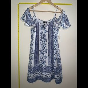 EUC Blue and White Print Off the Shoulder Dress